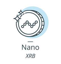 Nano cryptocurrency coin line icon of virtual vector