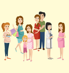 pregnancy motherhood people expectation concept vector image