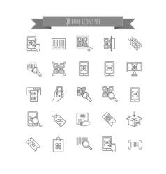 Qr code icons set vector