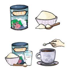 Set of cartoon of milk powder vector