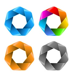 Set of Colorful Abstract Polygon icons vector image vector image