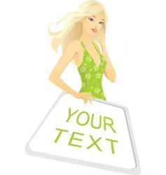 sign girl vector image