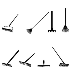 silhouettes of rakes vector image