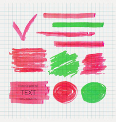Transparent highlighter marks vector