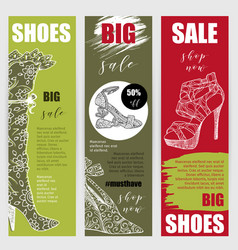 Vertical flyers or banners set with fashion woman vector