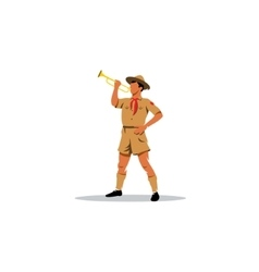Young boy scout bugler sign vector