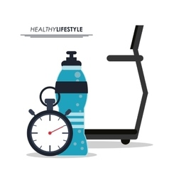 Running machine bottle and chronometer icon vector