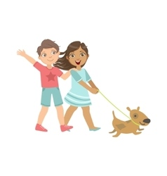 Boy and girl walking the dog together vector