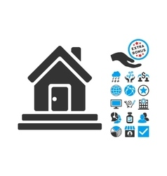 House front door flat icon with bonus vector