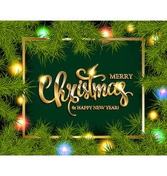 Christmas tree branches border vector