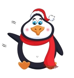 New years kind cheerful cute penguin welcomes vector