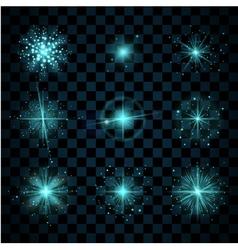Shine blue stars glitters vector