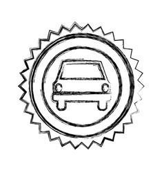monochrome sketch of circular seal with automobile vector image