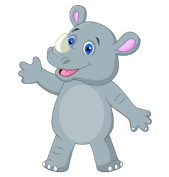 Cute rhino cartoon waving vector