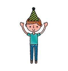 Scribble party boy cartoon vector