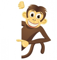 Funny monkey and blank space vector