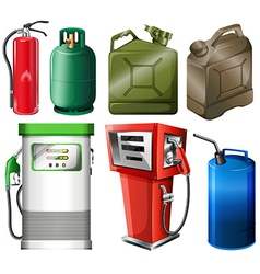 Different fuel containers vector