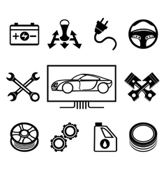 Car maintenance or service icons vector image