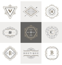 Set of monogram flourishes logo vector