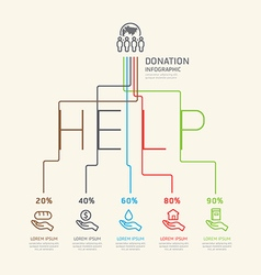 Flat linear infographic charity and donation vector