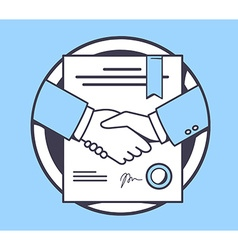 Handshake with contract signed and sealed vector