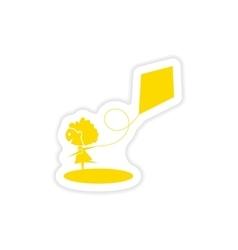 Icon sticker realistic design on paper girl kite vector