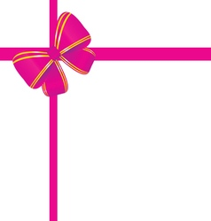 Bow in pink and gold color vector