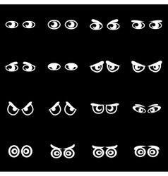 White cartoon eyes icon set vector