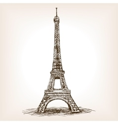 Eiffel tower hand drawn sketch style vector