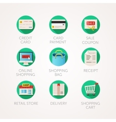 Shopping icons set modern flat colored vector