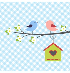 Birds sings in springtime vector image