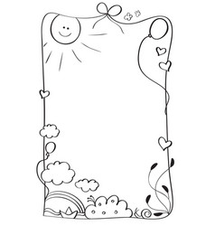 Abstract kids frame of vintage draw isolated on vector