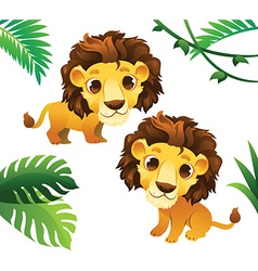 Animals Collections Lions with Tropical Frame vector image vector image
