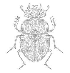 Anti-stress coloring book egyptian scarab vector
