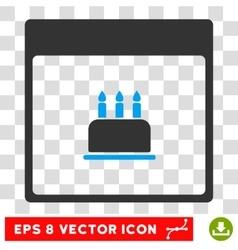 Birthday cake calendar page eps icon vector