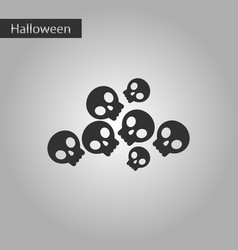 Black and white style icon halloween skulls vector