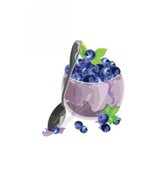 Blueberry bowl freshly picked fruits vector