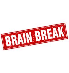 Brain break square stamp vector