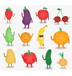Cartoon fruits and vegetables Funny food concept vector image