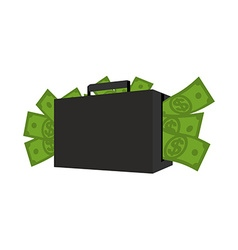 Case with money Suitcase full of dollars Cash in vector image