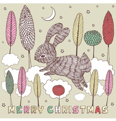 Christmas doodle Rabbit Card vector image vector image