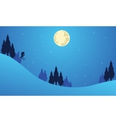 Christmas landscape with people playing ski vector