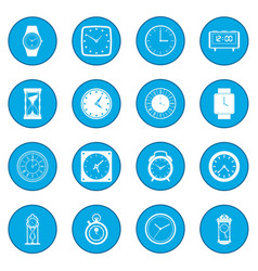 Clocks icon blue vector