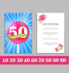 Cute template set of anniversary celebration vector
