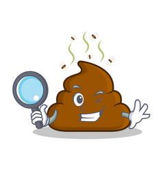 Detective poop emoticon character cartoon vector