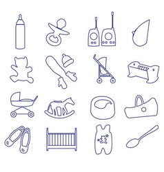 Equipment for baby outline icons set ps10 vector