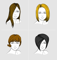 Faces of four women with different hair styles vector image vector image