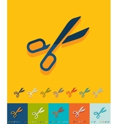 Flat design scissors vector image