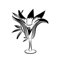 Flower in black and white vector