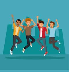 friends jumping in the city vector image